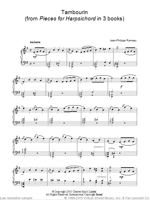 Tambourin sheet music for piano solo by Jean-Philippe Rameau