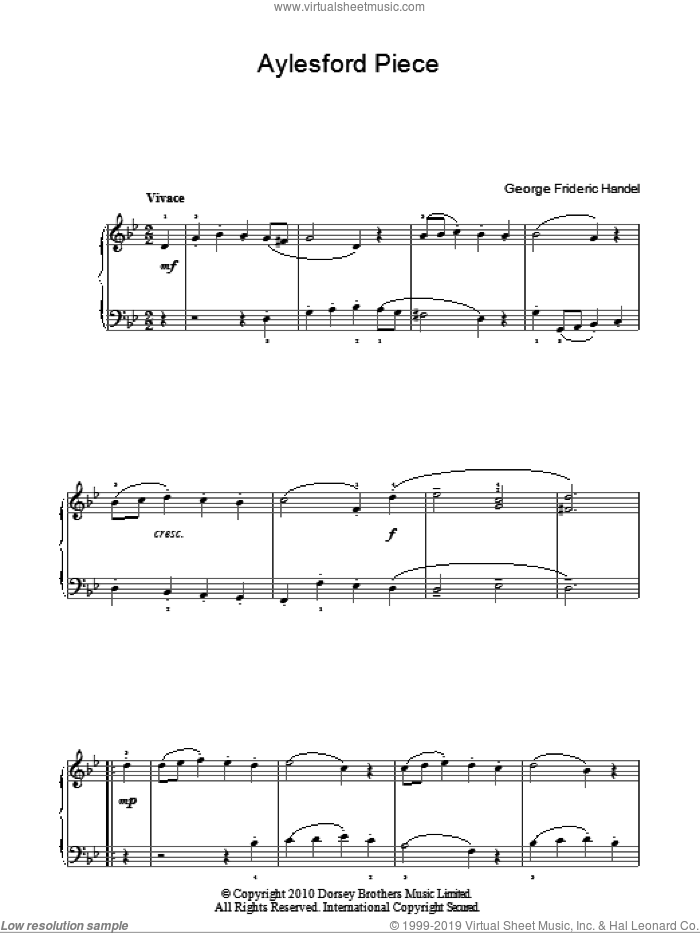 Aylesford Piece sheet music for piano solo by George Frideric Handel, classical score, easy skill level
