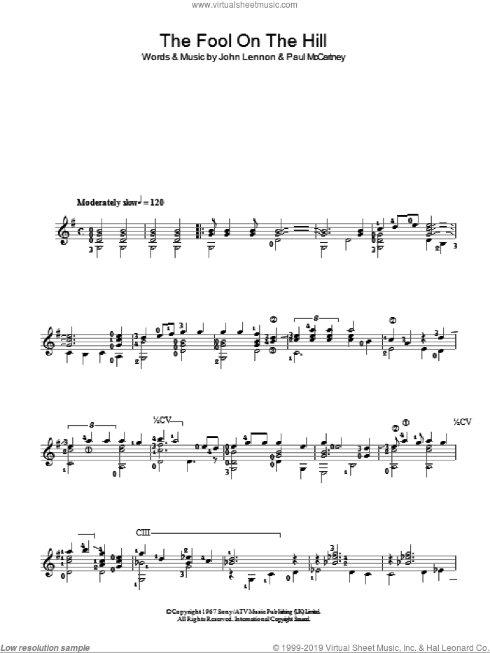 The Fool On The Hill sheet music for guitar solo (chords) by Paul McCartney, The Beatles and John Lennon. Score Image Preview.