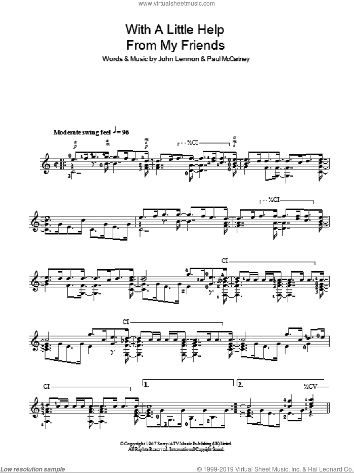 With A Little Help From My Friends sheet music for guitar solo (chords) by The Beatles, John Lennon and Paul McCartney, easy guitar (chords). Score Image Preview.