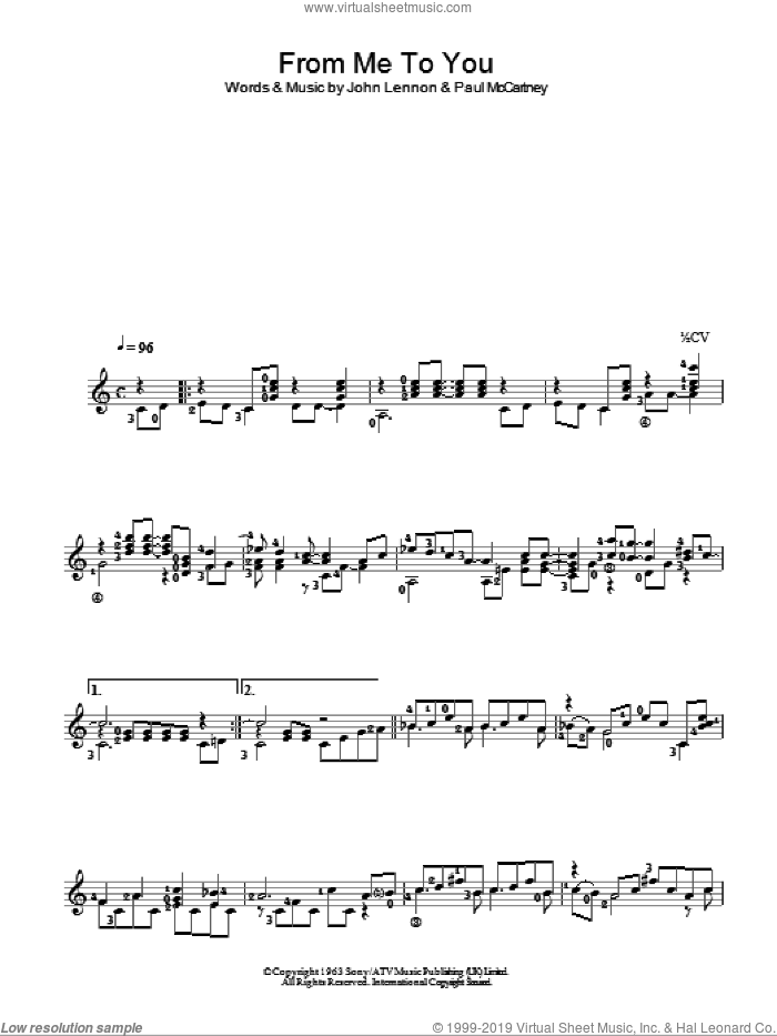 From Me To You sheet music for guitar solo (chords) by The Beatles, John Lennon and Paul McCartney, easy guitar (chords)