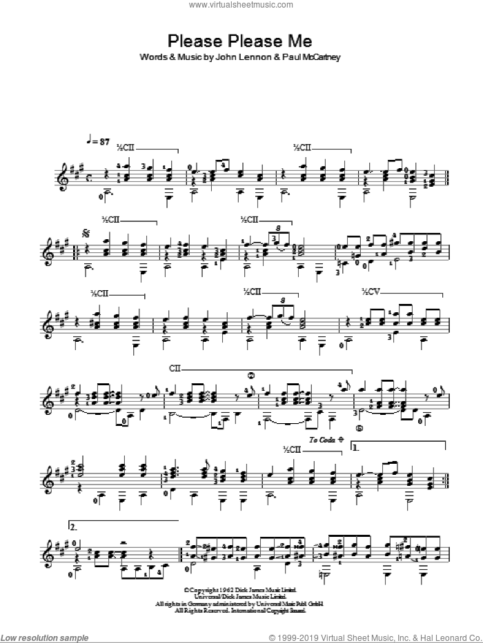 Please Please Me sheet music for guitar solo (chords) by The Beatles, John Lennon and Paul McCartney, easy guitar (chords)