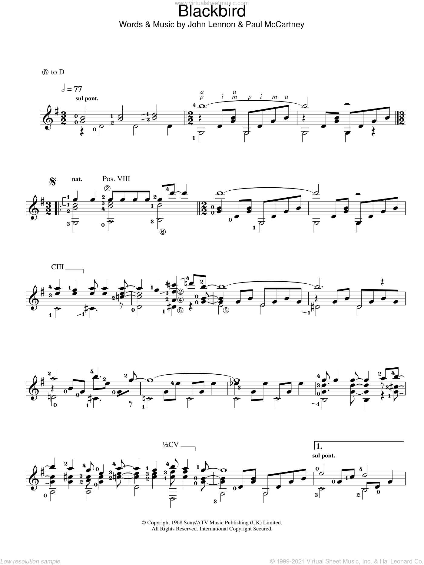 Blackbird sheet music for guitar solo (chords) by John Lennon and Paul McCartney. Score Image Preview.
