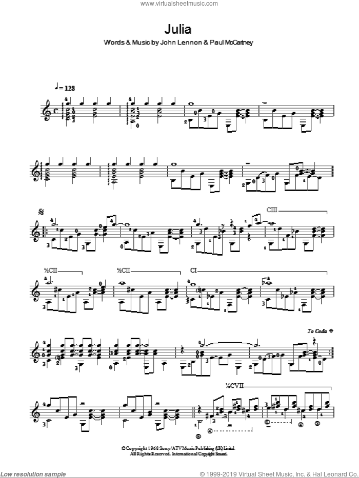 Julia sheet music for guitar solo (chords) by Paul McCartney, The Beatles and John Lennon. Score Image Preview.