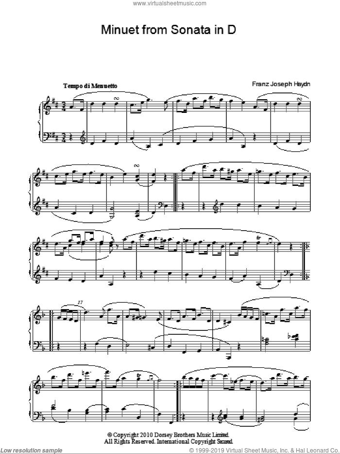 Minuet From Sonata In D sheet music for piano solo by Franz Joseph Haydn, classical score, intermediate