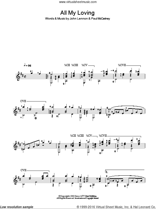 All My Loving sheet music for guitar solo (chords) by Paul McCartney