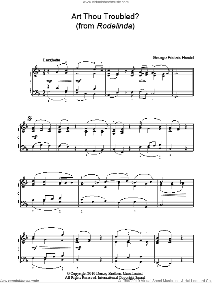 Art Thou Troubled? (from Rodelinda) sheet music for piano solo by George Frideric Handel, classical score, easy. Score Image Preview.