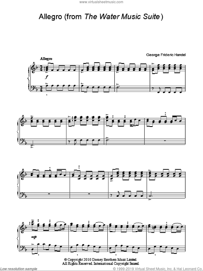 Allegro (from The Water Music Suite) sheet music for piano solo by George Frideric Handel. Score Image Preview.