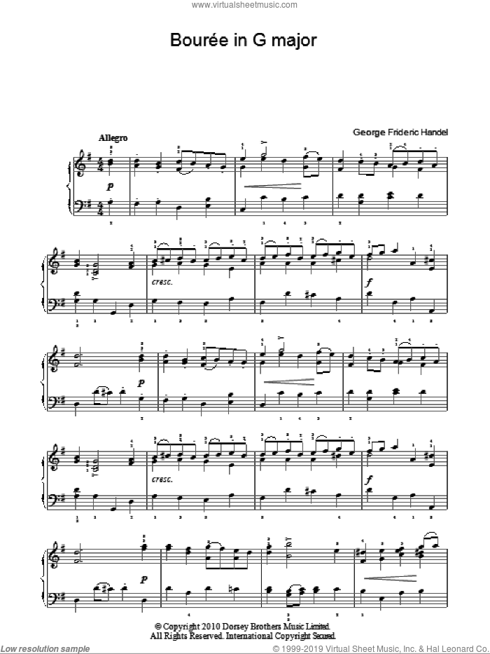 Bouree In G Major sheet music for piano solo (chords) by George Frideric Handel