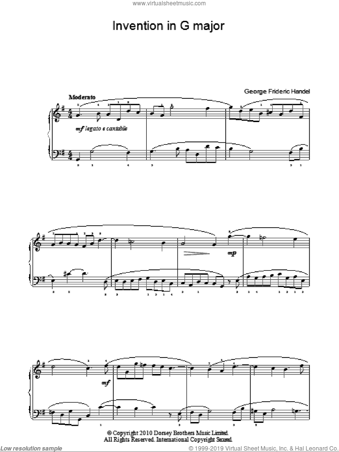 Invention In G sheet music for piano solo by George Frideric Handel, classical score, easy. Score Image Preview.