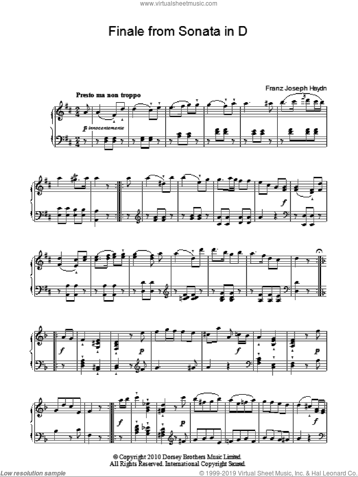 Finale From Sonata In D sheet music for piano solo by Franz Joseph Haydn. Score Image Preview.