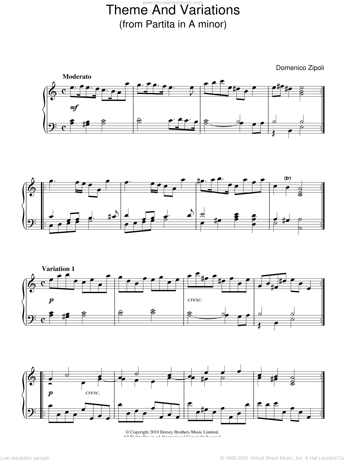 Theme And Variations From Partita In A Minor sheet music for piano solo by Domenico Zipoli, classical score, intermediate skill level