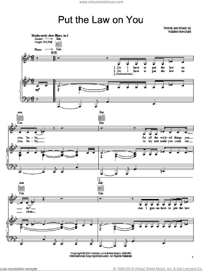 Put The Law On You sheet music for voice, piano or guitar by Natalie Merchant, intermediate skill level