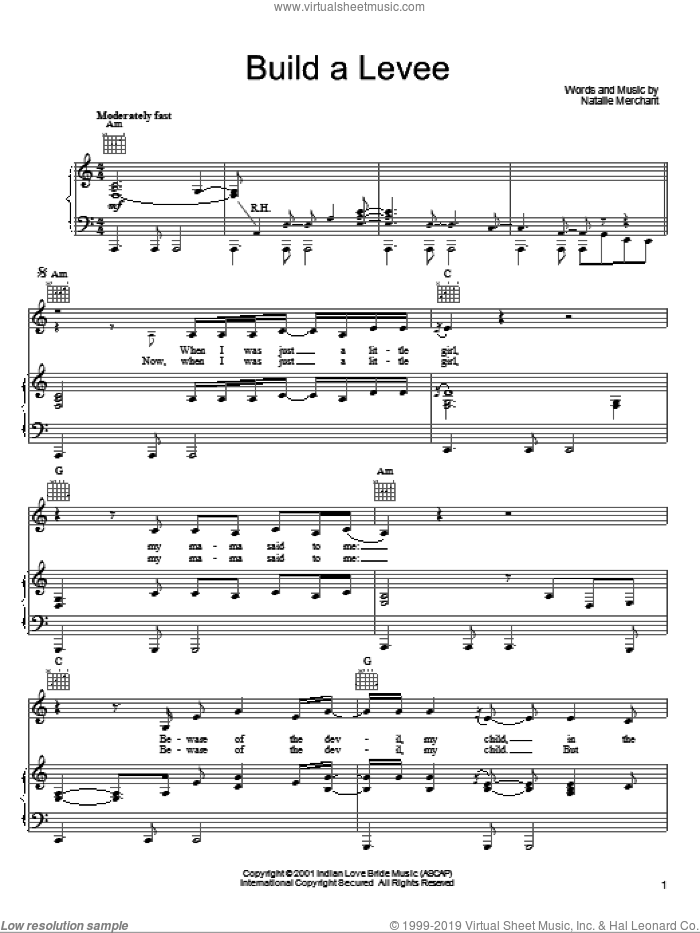 Build A Levee sheet music for voice, piano or guitar by Natalie Merchant, intermediate skill level