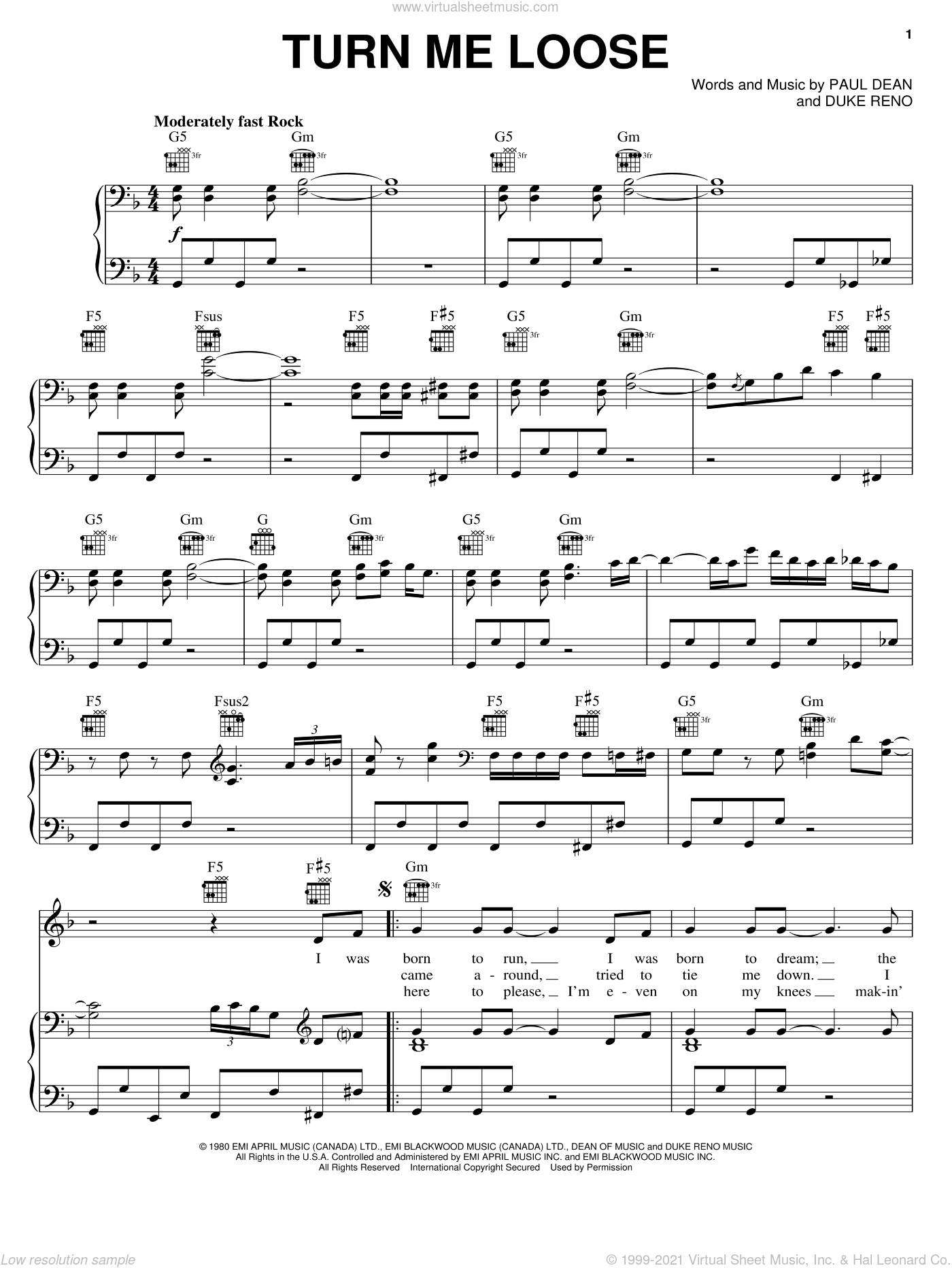 Turn Me Loose sheet music for voice, piano or guitar by Loverboy, Duke Reno and Paul Dean, intermediate skill level