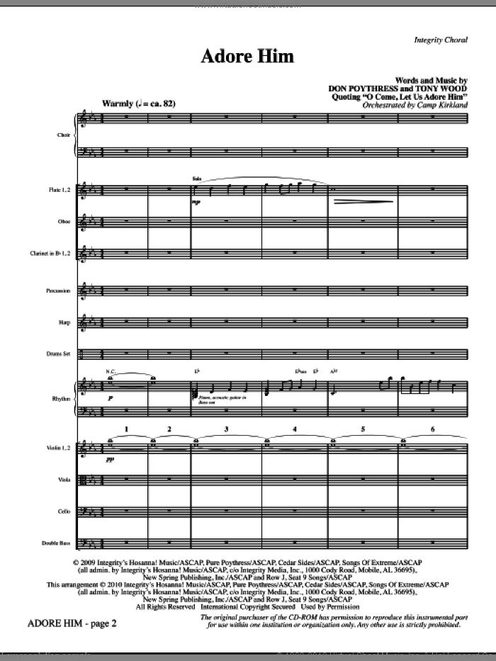 Adore Him (complete set of parts) sheet music for orchestra/band (chamber ensemble) by Tony Wood, Don Poythress and Camp Kirkland, intermediate skill level