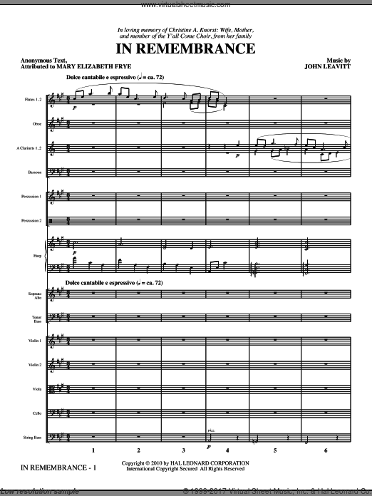 In Remembrance (COMPLETE) sheet music for orchestra by John Leavitt