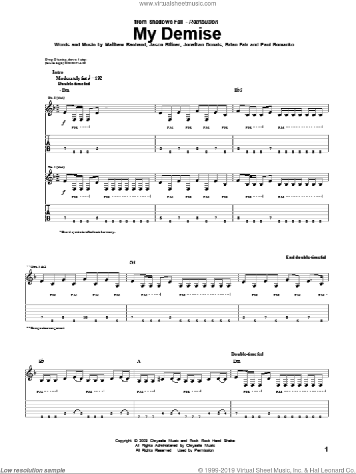 My Demise sheet music for guitar (tablature) by Paul Romanko