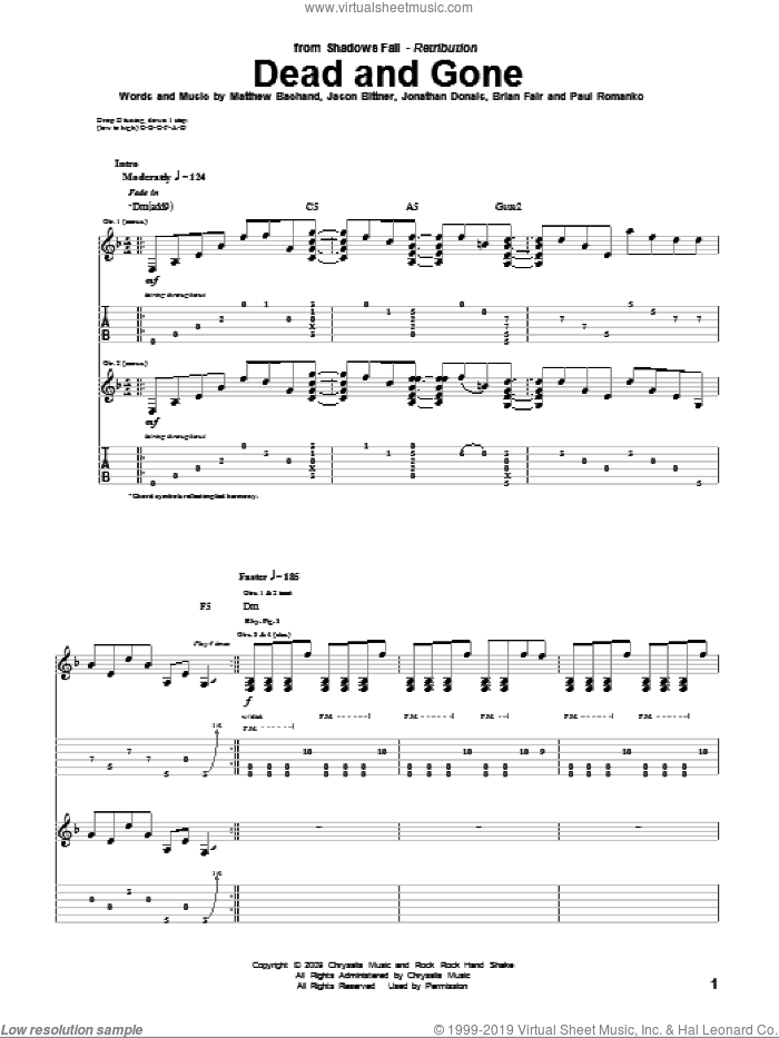 Dead And Gone sheet music for guitar (tablature) by Shadows Fall. Score Image Preview.
