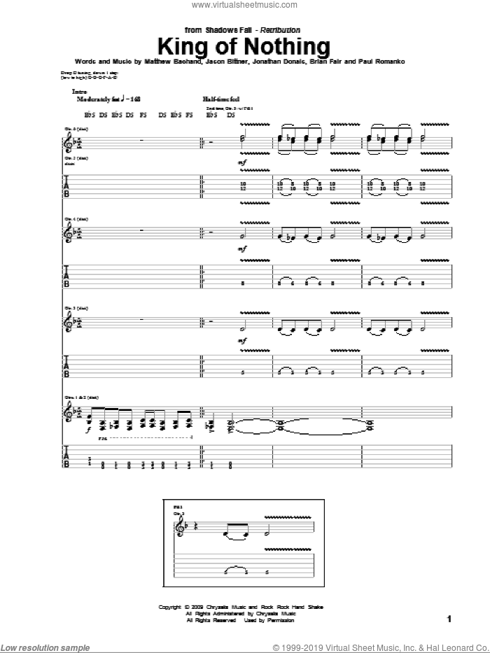 King Of Nothing sheet music for guitar (tablature) by Paul Romanko