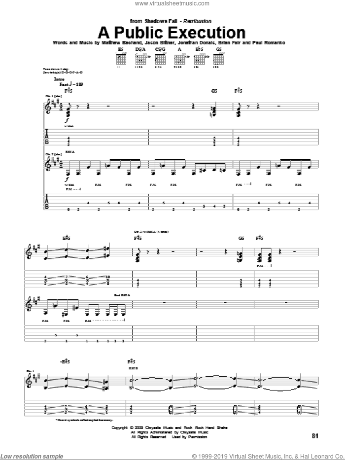 A Public Execution sheet music for guitar (tablature) by Shadows Fall, Brian Fair, Jason Bittner, Jonathan Donais, Matthew Bachand and Paul Romanko, intermediate