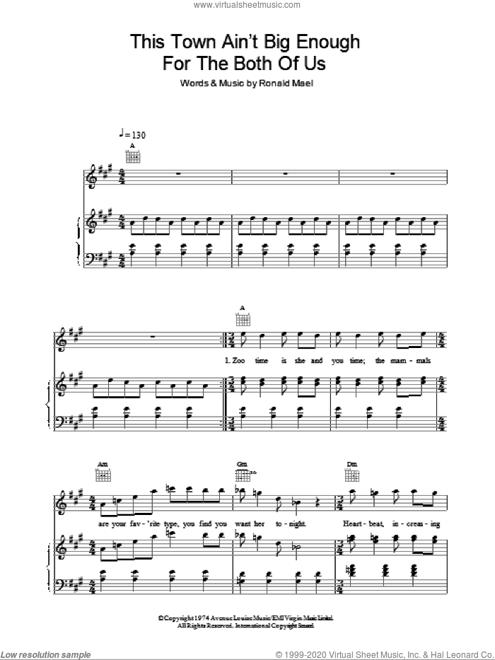 This Town Ain't Big Enough For Both Of Us sheet music for voice, piano or guitar by Ronald Mael. Score Image Preview.