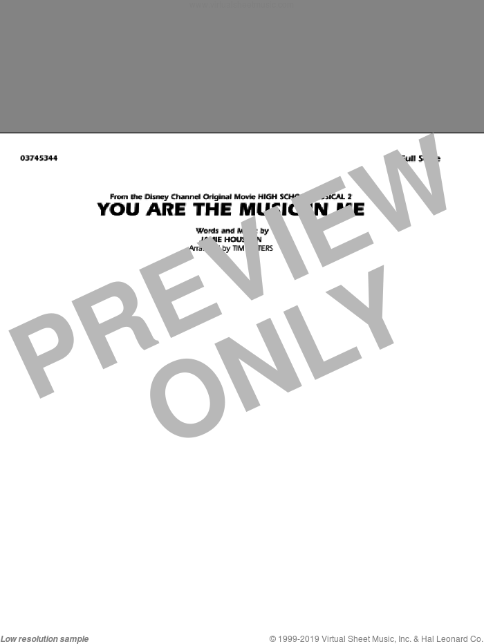 You Are the Music In Me (from High School Musical 2) sheet music for marching band (full score) by Jamie Houston