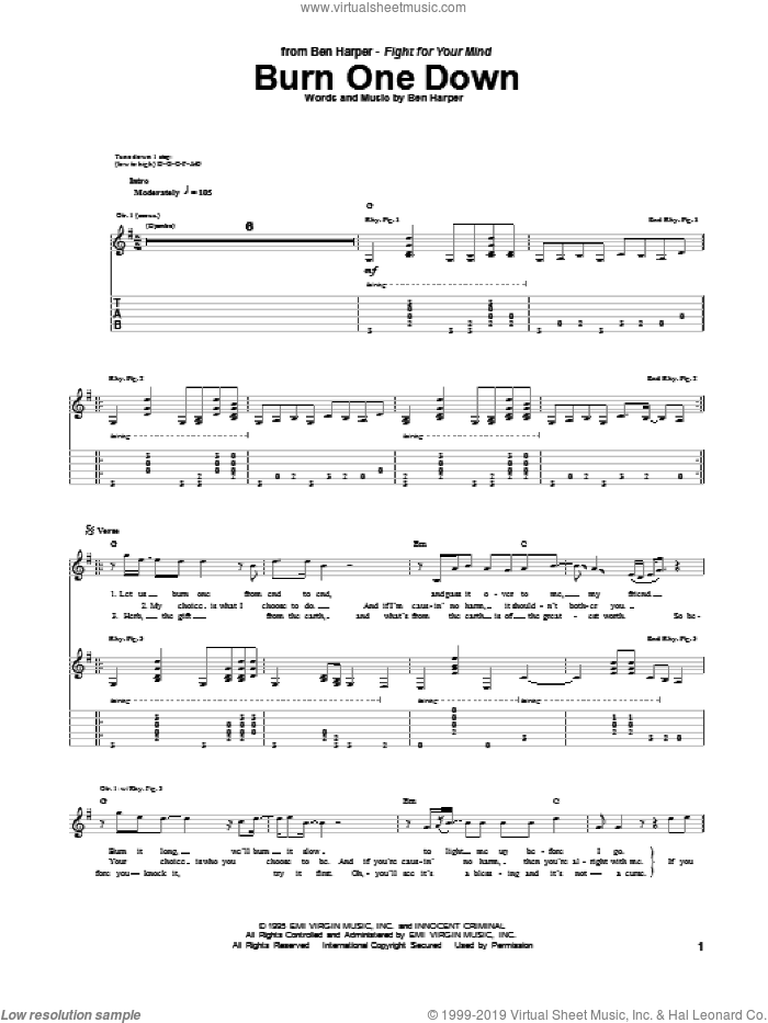 Burn One Down sheet music for guitar (tablature) by Ben Harper. Score Image Preview.
