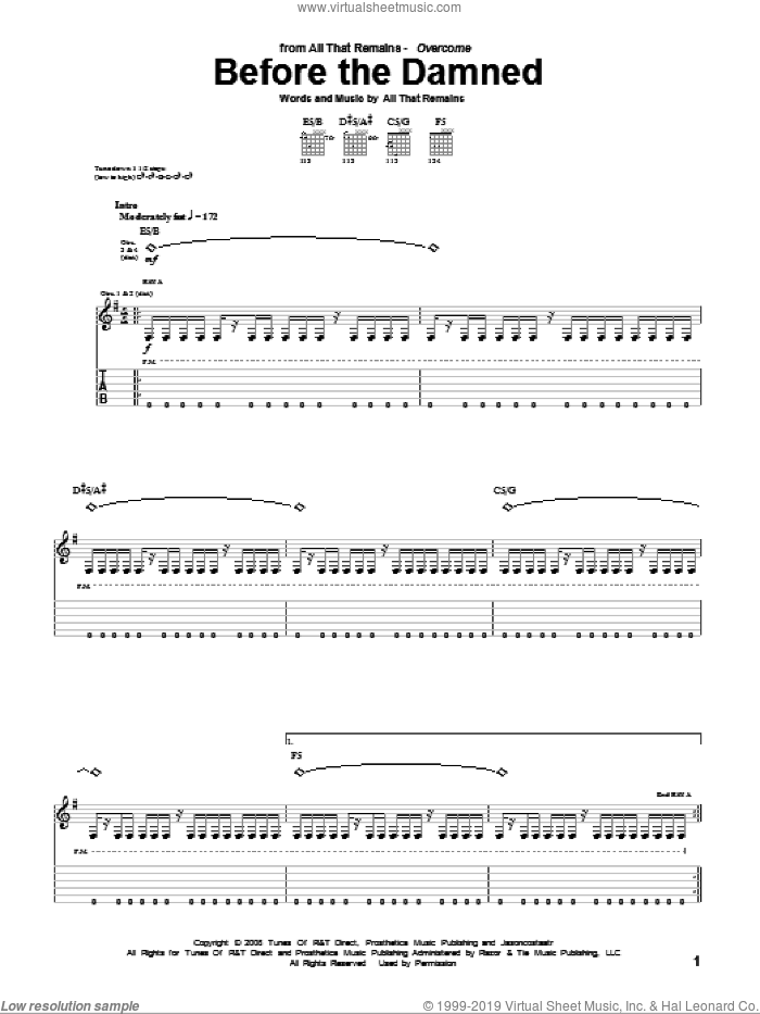 Before The Damned sheet music for guitar (tablature) by All That Remains, intermediate guitar (tablature). Score Image Preview.