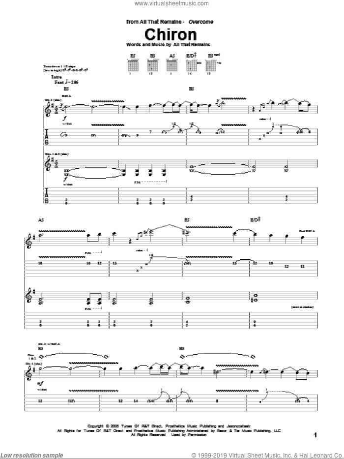 Chiron sheet music for guitar (tablature) by All That Remains, intermediate
