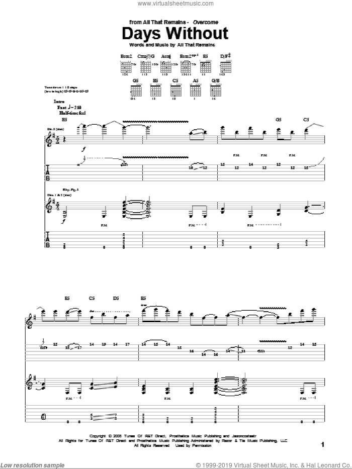 Days Without sheet music for guitar (tablature) by All That Remains, intermediate guitar (tablature). Score Image Preview.