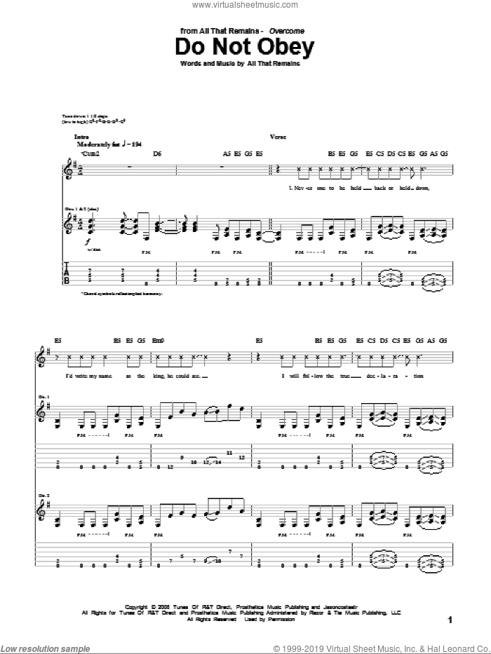 Do Not Obey sheet music for guitar (tablature) by All That Remains, intermediate. Score Image Preview.