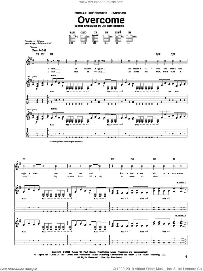 Overcome sheet music for guitar (tablature) by All That Remains, intermediate skill level