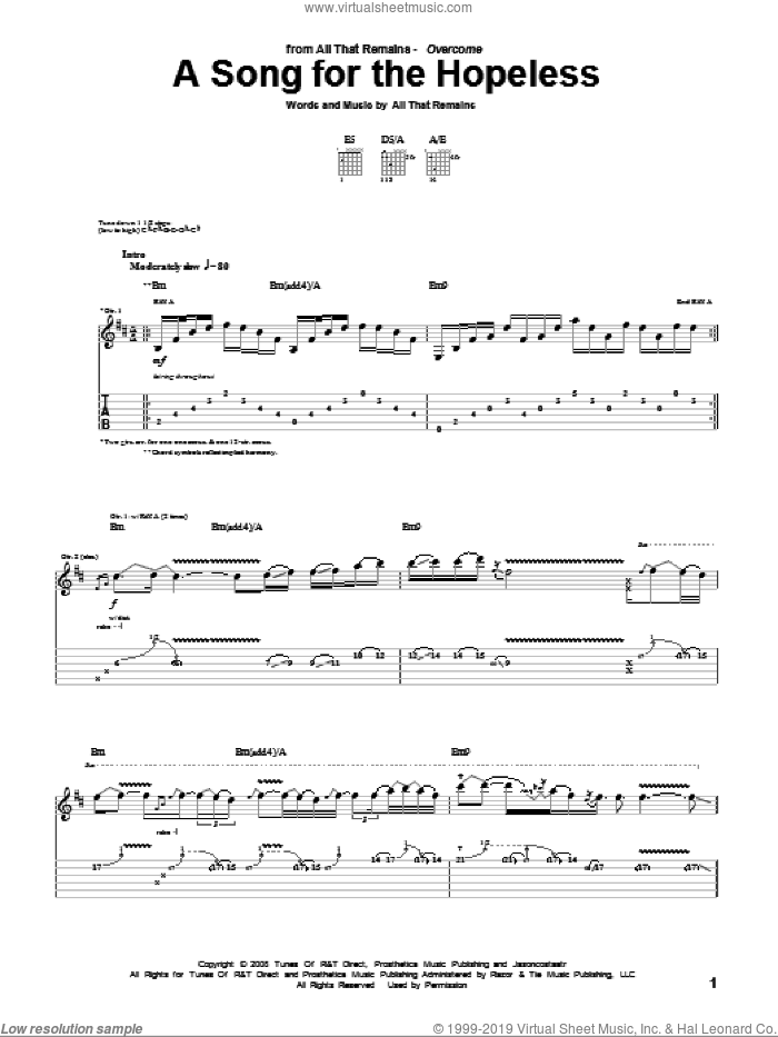 A Song For The Hopeless sheet music for guitar (tablature) by All That Remains. Score Image Preview.