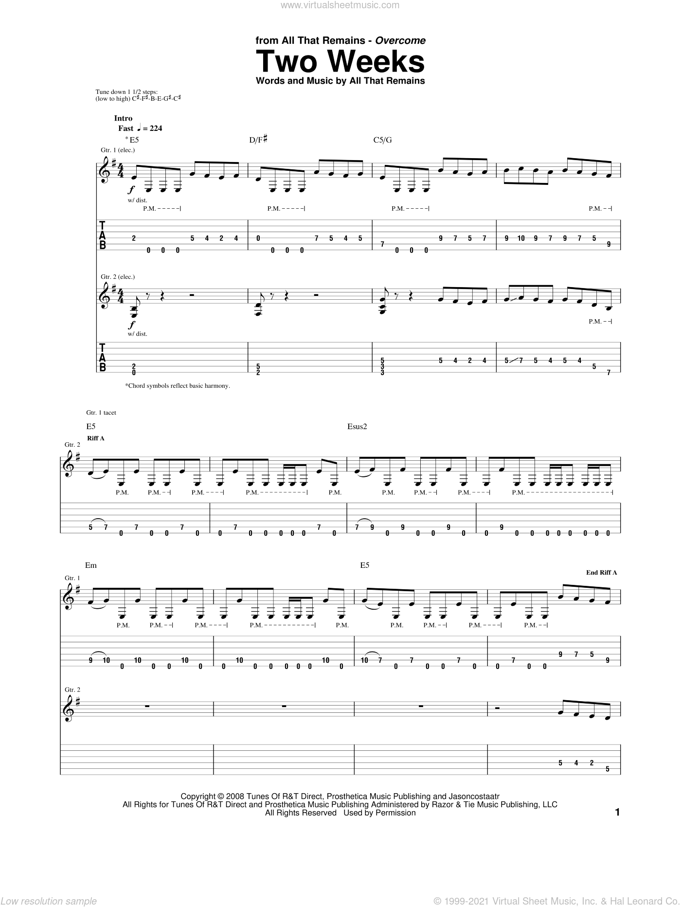 Two Weeks sheet music for guitar (tablature) by All That Remains. Score Image Preview.