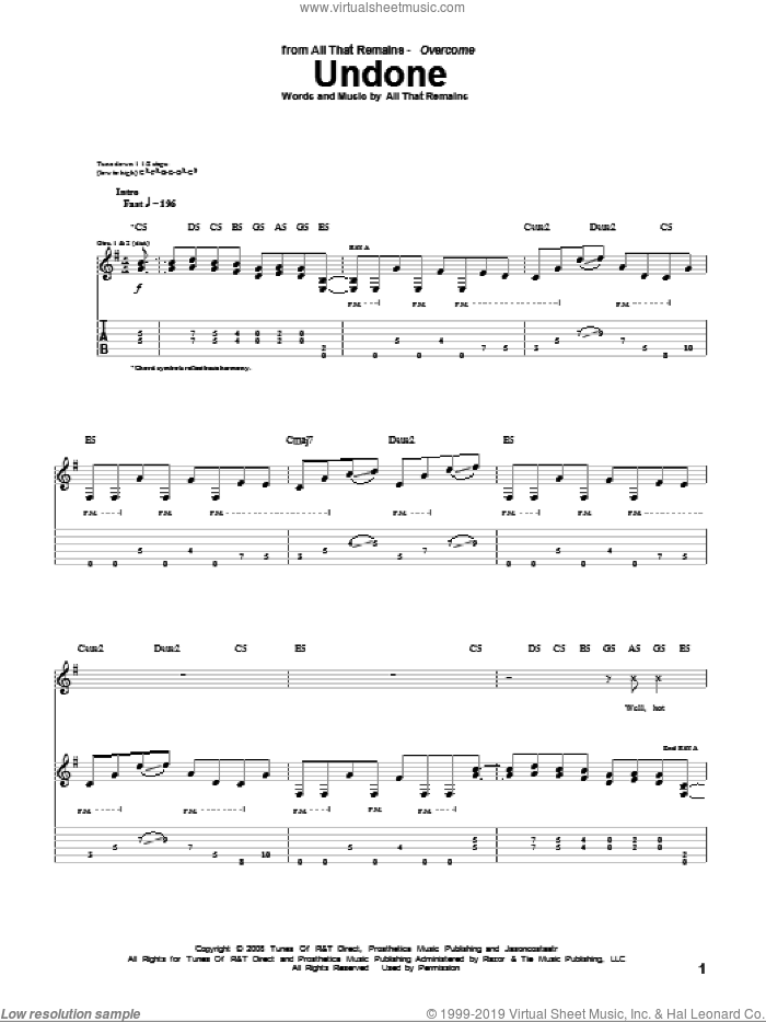 Undone sheet music for guitar (tablature) by All That Remains. Score Image Preview.