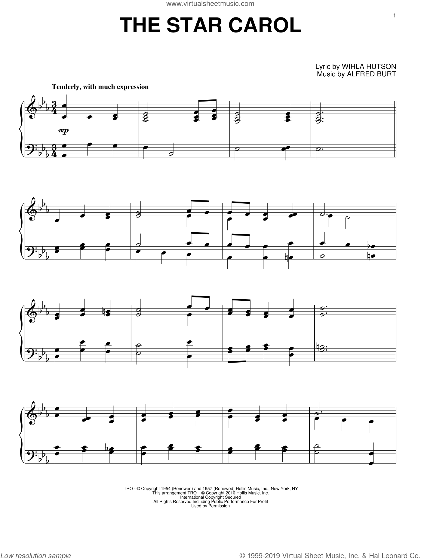 The Star Carol sheet music for piano solo by Peggy Lee, Alfred Burt and Wihla Hutson, intermediate skill level