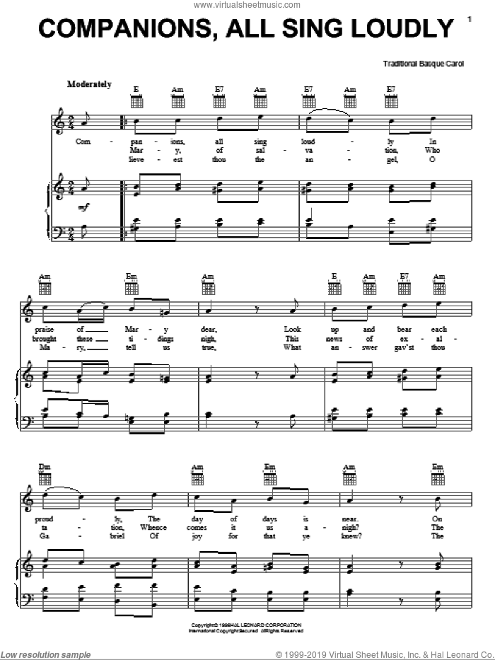 Companions, All Sing Loudly sheet music for voice, piano or guitar, intermediate. Score Image Preview.