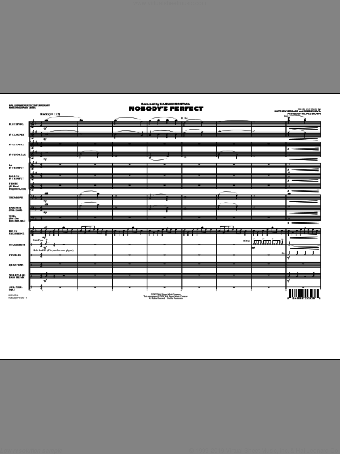 Nobody's Perfect (COMPLETE) sheet music for marching band by Matthew Gerrard, Robbie Nevil, Hannah Montana, Michael Brown and Miley Cyrus, intermediate skill level