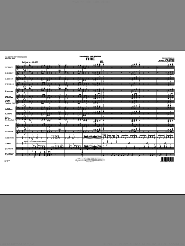 Fire (COMPLETE) sheet music for marching band by Jimi Hendrix, Jay Bocook and Will Rapp, intermediate skill level
