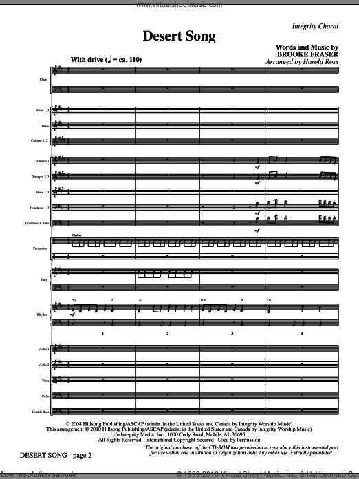 Desert Song (COMPLETE) sheet music for orchestra by Harold Ross and Brooke Fraser. Score Image Preview.