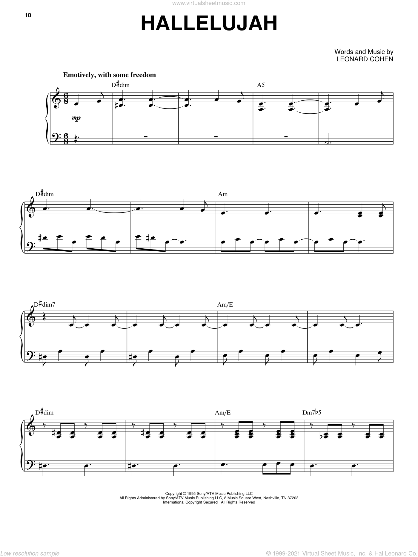 Hallelujah sheet music for voice and piano by Leonard Cohen, intermediate skill level