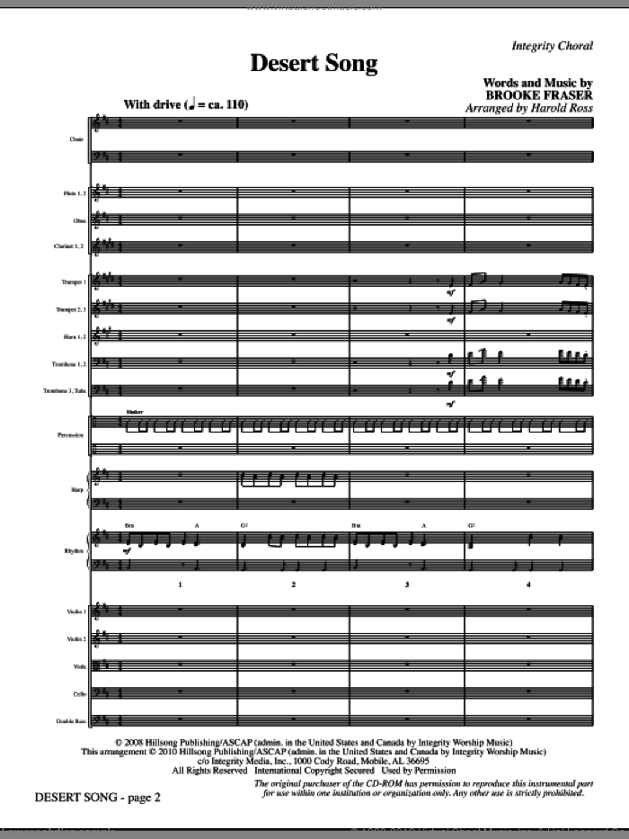 Desert Song (complete set of parts) sheet music for orchestra/band (Orchestra) by Brooke Fraser and Harold Ross, intermediate. Score Image Preview.