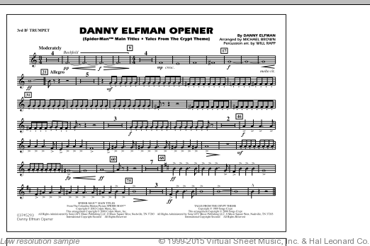 Danny Elfman Opener (COMPLETE) sheet music for marching band by Danny Elfman