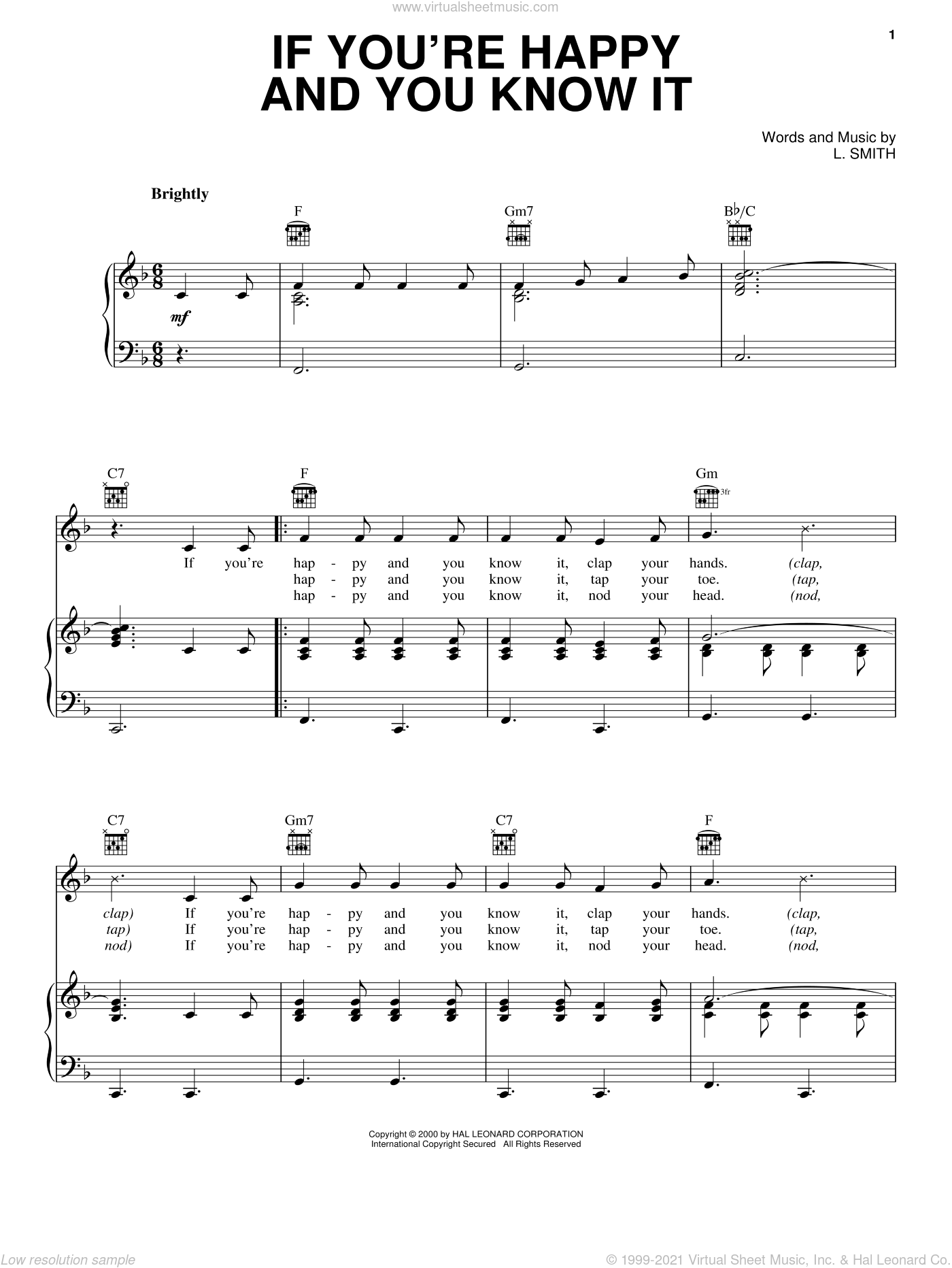 If You're Happy And You Know It sheet music for voice, piano or guitar by Laura Smith, intermediate. Score Image Preview.