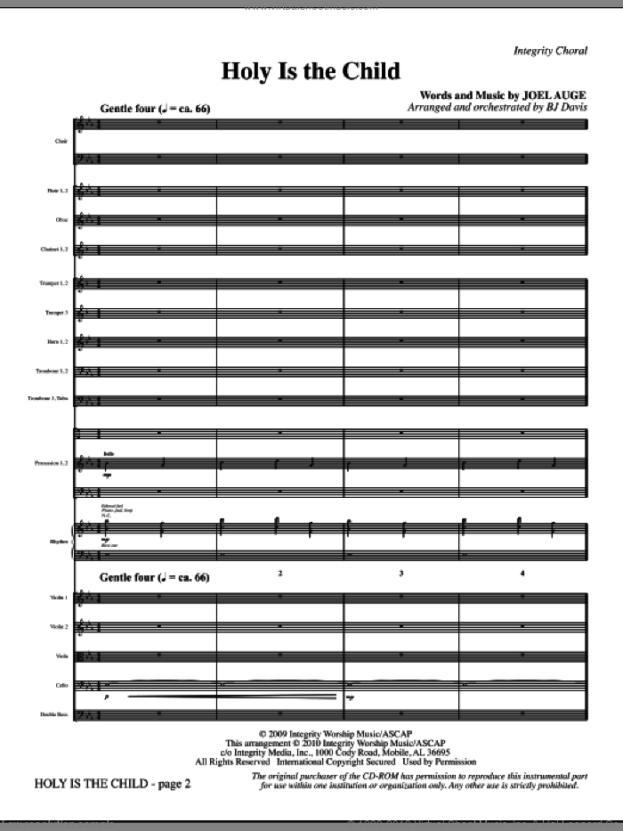 Holy Is The Child (complete set of parts) sheet music for orchestra/band (Orchestra) by BJ Davis and Joel Auge, intermediate skill level