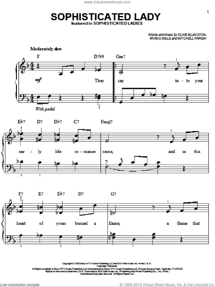Sophisticated Lady sheet music for piano solo by Mitchell Parish, Duke Ellington and Irving Mills. Score Image Preview.