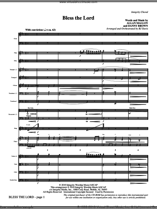 Bless The Lord (COMPLETE) sheet music for orchestra by BJ Davis, intermediate. Score Image Preview.