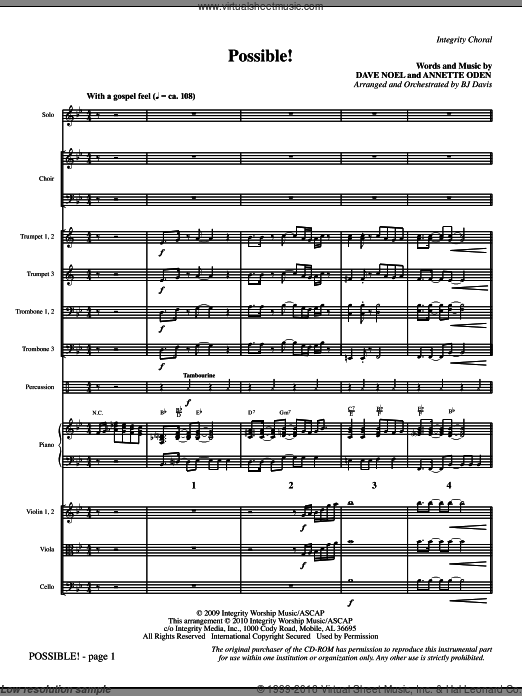 Possible! (COMPLETE) sheet music for orchestra by BJ Davis. Score Image Preview.