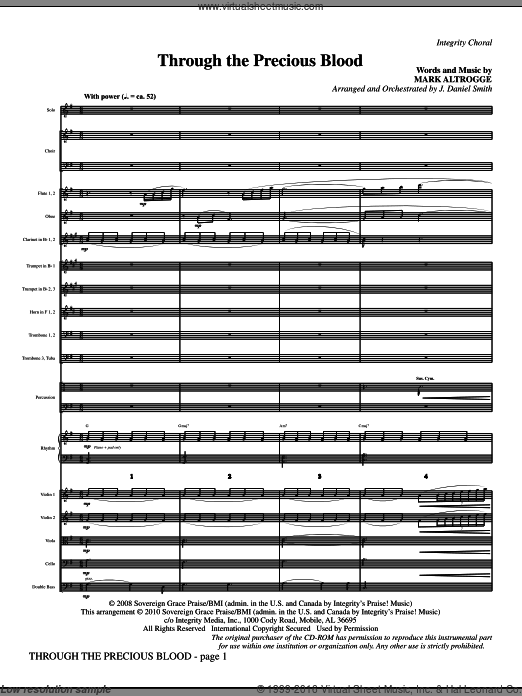 Through The Precious Blood (COMPLETE) sheet music for orchestra by Mark Altrogge and J. Daniel Smith. Score Image Preview.